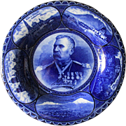 c1900 Flow Blue Plate, Mexican President Porfirio Diaz & Mexican City Scenes