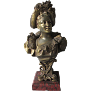 Antique 19thC  Victorian Bust of a Lovely Lady in Lace, Rouge Marble Base