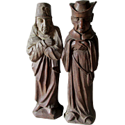 2 Vintage Hand Carved Wood Sculptures of a Monk & Scholar, European Folk Art