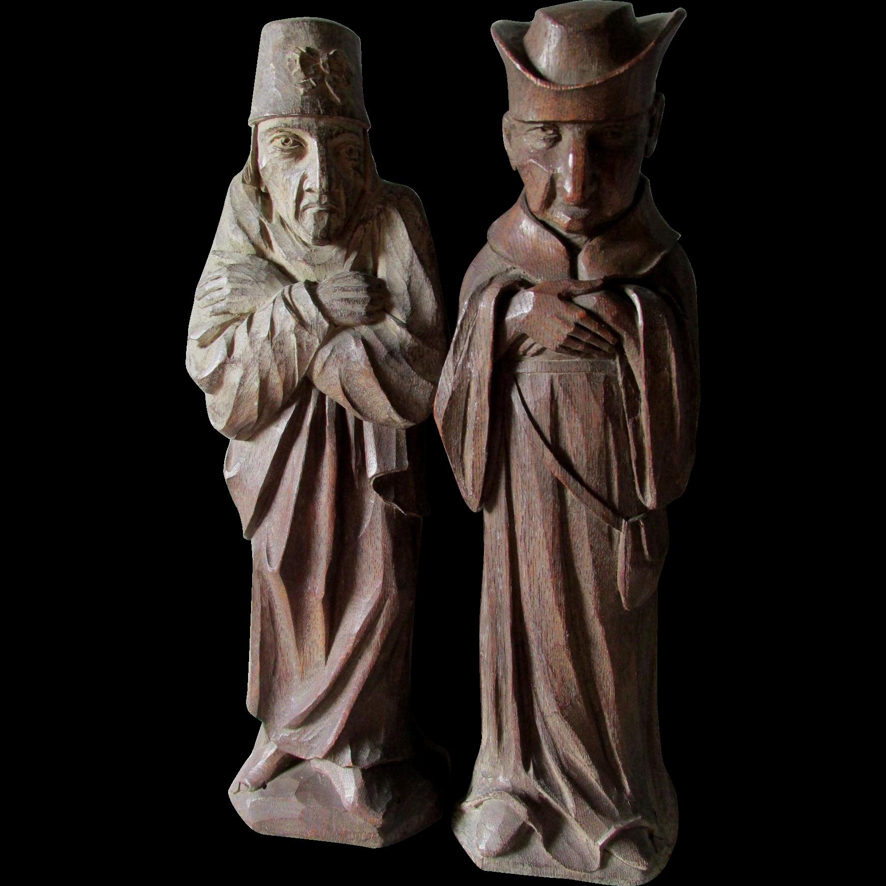 2 Vintage Hand Carved Wood Sculptures of a Monk & Scholar, European Folk Art