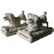 Pair Antique Staffordshire Poodle, Spaniel Dogs on Pillows