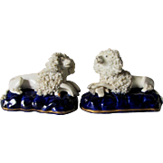 Pair Antique Staffordshire Poodle, Spaniel Dogs with Birds