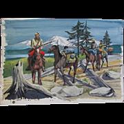 Original Vintage Painting, Book Illustration, Lewis & Clark