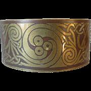 Arts & Crafts, Art Nouveau Mixed Metal Cuff, Bangle Bracelet