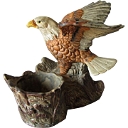 Antique Bald Eagle Match Safe, European Hand Painted Terra Cotta