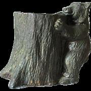 Antique c1910s Figural Bear & Tree Match Safe, Desk or Vanity Accessory