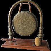 Antique Brass & Oak Dinner Bell, Gong, Servant Call, Dining Accessory