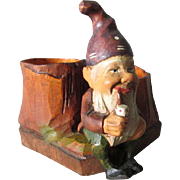 Vintage Black Forest Hand Carved Gnome Elf, Match Safe, Toothpick Holder