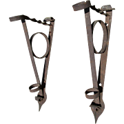 Pair Large 19th Century Hand Forged Flag Brackets, Architectural Hooks, Flag Hangers