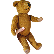 c1920s Gold Mohair Teddy Bear, Straw Stuffed Toy