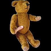 c1920s Gold Mohair Teddy Bear, Straw Stuffed Toy