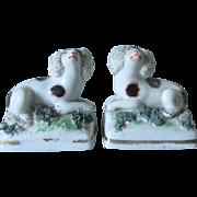 Pair Miniature 19tC Chelsea Spaniel Dogs, Soft Paste Staffordshire Figurines