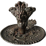 Antique Gothic Cast Iron Candlestick, Chamberstick with Gargoyles, Dragons