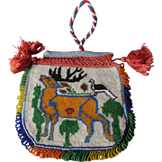 Vintage Hand Beaded Handbag with US & Greek Flag, Stag, Bird & Lady