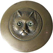 c1910 Edwardian Brass Box, Cat with Glass Eyes, Traveling Vanity Accessory