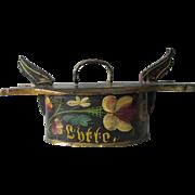 c1930s Scandinavian Folk Art Tine Box with Original Paint