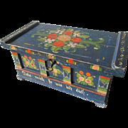 c1930s Scandinavian Folk Art Box with Original Paint, Hand Painted