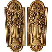 Pair Elegant Art Deco Push Plates with Birds & Flower Urns, Architectural
