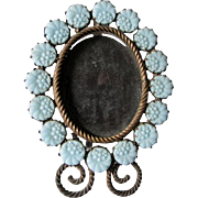 Antique Miniature Art Nouveau Picture Frame with Glass Flowers