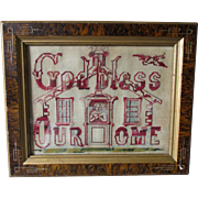 Antique c1880s Folk Art Motto Sampler with Lady in Doorway, Punched Paper