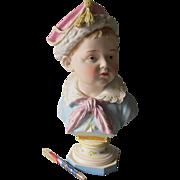 Fine Antique 19thC Victorian Bisque Porcelain Bust of a Little Boy