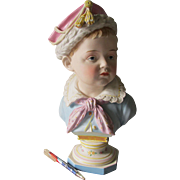 Fine Antique 19thC Victorian Bisque Porcelain Bust of a Little Boy