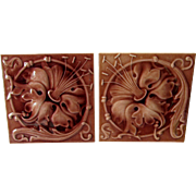 Pair Antique c1880s Art Nouveau Tiles by Hamilton Tile Works