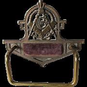 Antique Masonic Valet, Regalia Display Holder with Original Polychrome Finish