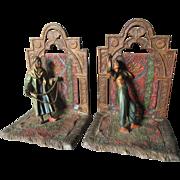 Antique Austrian Bookends, Arab, Moorish Oriental Rug Seller & Snake Charmer