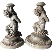 Antique Victorian, Edwardian Cherub Candlesticks