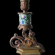 Antique French Longwy, Bronze Gargoyle Griffin Candlestick, Victorian, Gothic