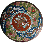 Antique Japanese Cloisonne Plate with Phoenix Bird & Dragons