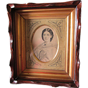 c1880 Walnut Victorian Picture Frame, Gold Liner, Ink Illustration Portrait