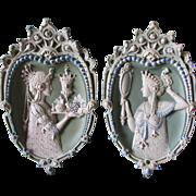 Pair c1890s Art Nouveau Jasperware Plaques with Avant Garde Ladies