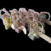 12 Art Deco Place Card Party Favors, Basket's of Flowers