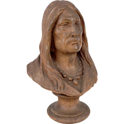 Stoneware Bust of a Native American Indian, Sculpture, Figurine