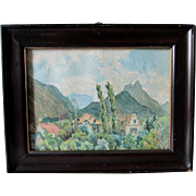 Antique c1908 Miniature German Impressionist Watercolor Landscape Painting