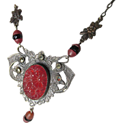 Pretty c1920s Art Deco Drop Necklace with Czech Glass & Marcasites