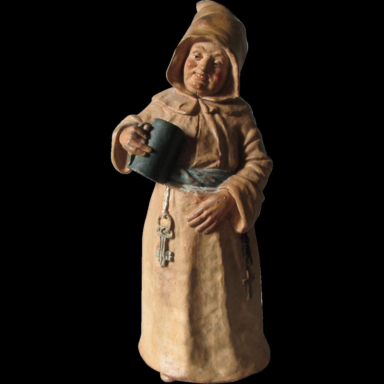 Antique German, Austrian Figural Monk Bell, Redware