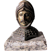 Antique Knight Head Paperweight, Medieval, Renaissance, Desk Accessory