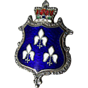 Victorian, Edwardian Sterling Silver Enamel Hatpin, French Fleur de Lis, Heraldry