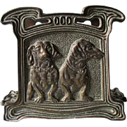 Nice Desk Top Letter Holder with Dachshund Dogs, Cast Iron