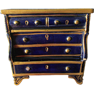 Antique Miniature Pottery Dresser, Chest of Drawers, Doll Furniture