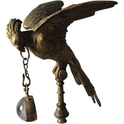 Antique Bronze Cockatoo Pocket Watch Holder with Glass Ball Watch