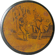 c1840s Paper Mache Snuff Box with Tailor, Military Uniforms
