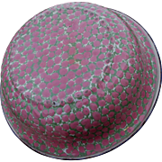 Antique Agateware, Graniteware Wash Basin, Bowl, Pink Polka Dots, Green White