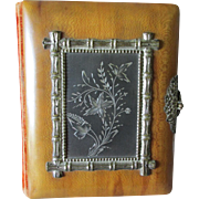 Lovely c1880s Photograph Album, Wood & Silverplate Cover, Full of Photos