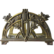 Antique Art Nouveau Desk Top Letter Holder, Laurel Leaf Motif