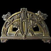 Antique Art Nouveau Desk Top Letter Holder, Laurel Leaf Motif