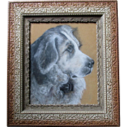Antique Folk Art Charcoal of a Saint Bernard Dog, Lovely Aesthetic Picture Frame